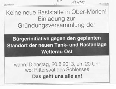 Ober-Mörlen, Raststätte. Wetterau-Ost, BI, Bürgerinitiative, Gründungsversammlung